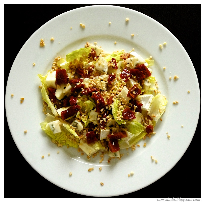 bleu cheese salad, olives and dried tomatoes
