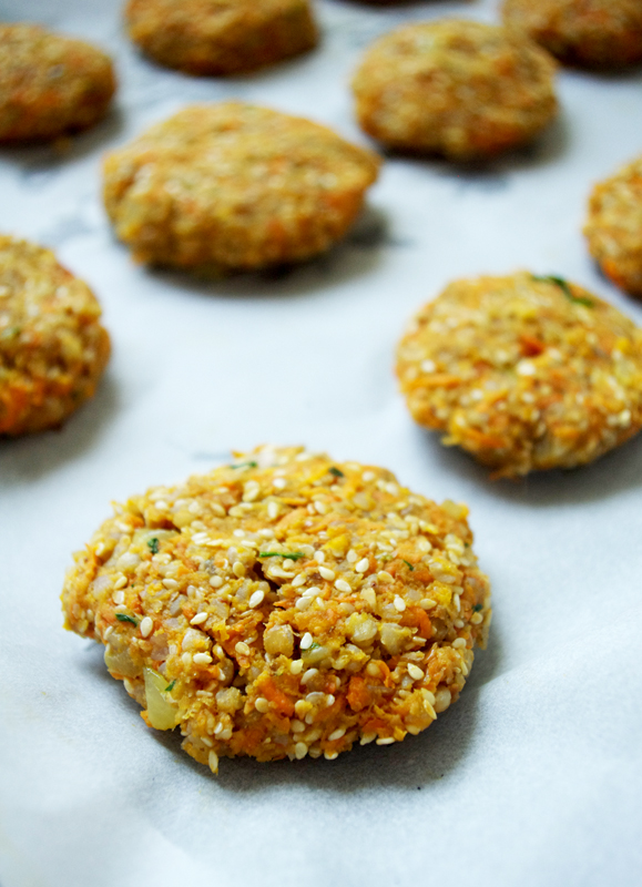 vegan patties from carrot and buckwheat